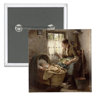Motherly Affection (oil on canvas) Pinback Button