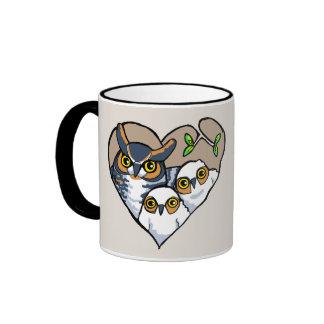 Motherly Horned Owl Nest Heart Mug