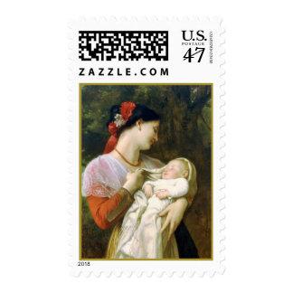 Motherly Love Bouguereau Fine Art Postage Stamp