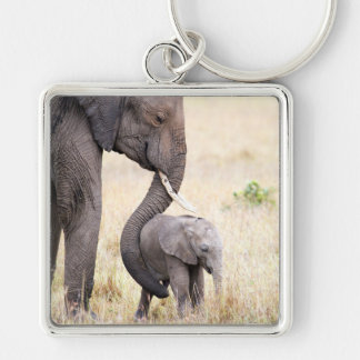 Motherly love Silver-Colored square keychain