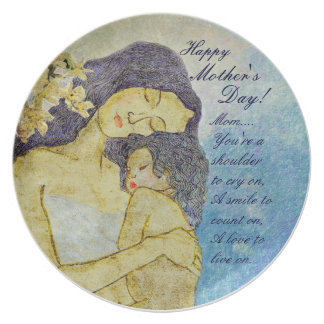 Mother's Affection painting and poem plate for mom