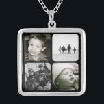 "Mother's Children Photo Collage Necklace<br><div class=""desc"">A beautiful keepsake for any mom or grandmother,  this necklace features four black framed spots to fill with her favorite family photos or portraits of children.  A lovely gift for her to cherish for years to come. Available in three sizes; shown in medium.</div>"