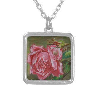 Mother's Dar Rose Flower Silver Plated Necklace