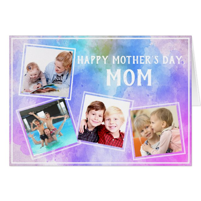 Mother's Day 4 Photo Family Collage on Watercolor