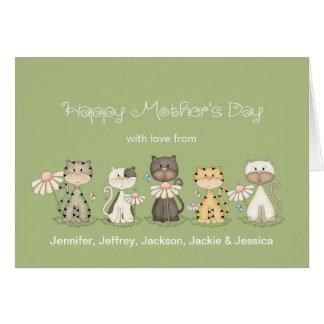 Mother's Day, 5 Cats from all - custom names Card