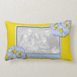 Mothers Day ADD YOUR PHOTO Blue Daisies Lumbar Pillow