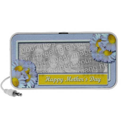 Mothers Day ADD YOUR PHOTO Blue Daisies Travel Speakers