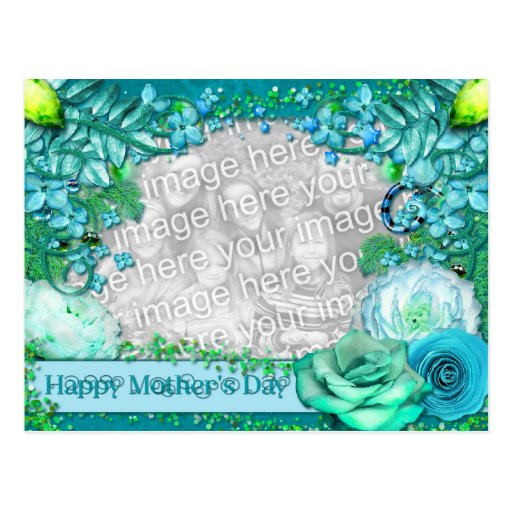 Mothers Day - ADD YOUR PHOTO - Blue Fantasy Postcard
