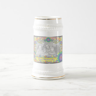 Mothers Day - ADD YOUR PHOTO - Spring Flowers Beer Stein