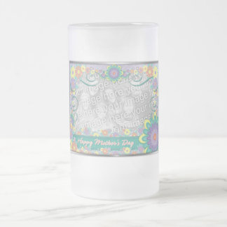 Mothers Day - ADD YOUR PHOTO - Spring Flowers Frosted Glass Beer Mug
