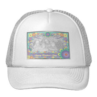 Mothers Day ADD YOUR PHOTO Spring Flowers Trucker Hat