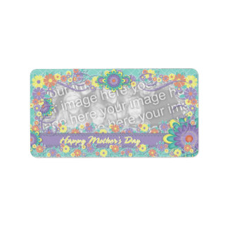 Mothers Day - ADD YOUR PHOTO - Spring Flowers Personalized Address Label