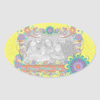 Mothers Day - ADD YOUR PHOTO - Spring Flowers Oval Sticker