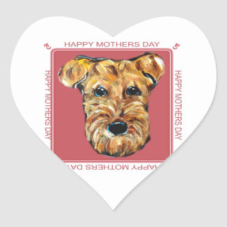 MOTHERS DAY AIREDALE HEART STICKER