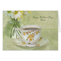 Mother's Day-antique teacup with daisy bouquet