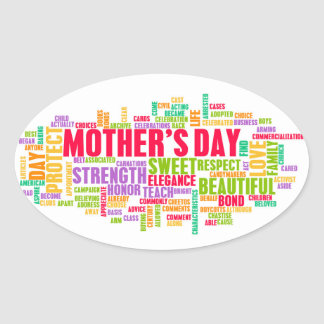 Mother's Day As a Special Day with Words Oval Sticker