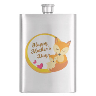 mother's day badges with cute animals 001 flask