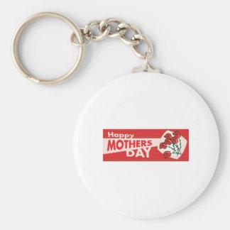 Mothers Day Banner Basic Round Button Keychain