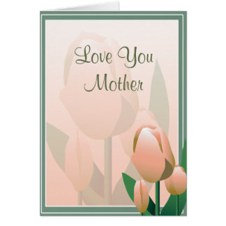 Mothers Day Beautiful Spring Tulip Pink Card