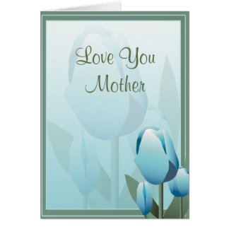 Mothers Day Beautiful Spring Tulip Turquoise Card