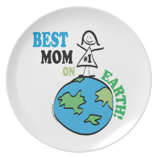 Mothers Day Best Mom on Earth Dinner Plate