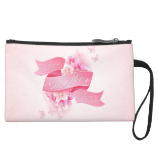 """Mother's Day """"Best Mother Ever"""" All Options Suede Wristlet"""