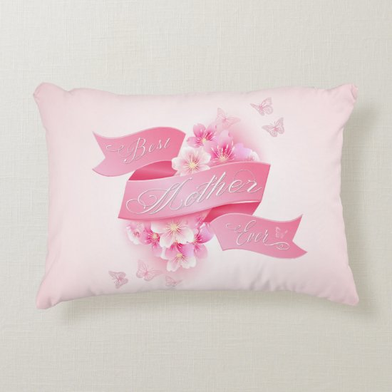 "Mother's Day ""Best Mother Ever"" Word Art Accent Pillow"