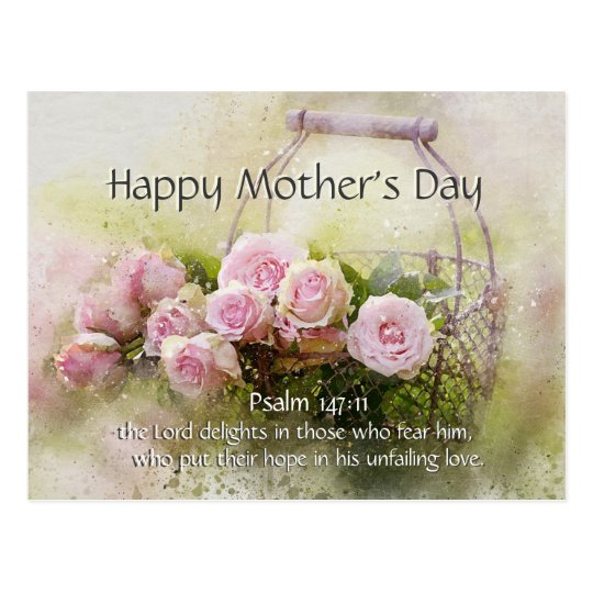 Happy Mother S Day Religious Quotes: Mother's Day, Bible Verse Psalm 147:11 Pink Roses Postcard