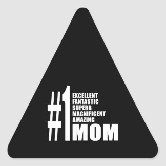 Mothers Day Birthdays Christmas Number One Mom Triangle Sticker