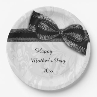 Mother's Day Black Damask and Faux Bow Paper Plate