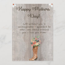 Mothers Day Boot Card