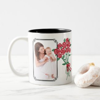 Personal Mother's Day Bouquet of Red Roses Two-Tone Coffee Mug Available in 11-ounce or 15-ounce