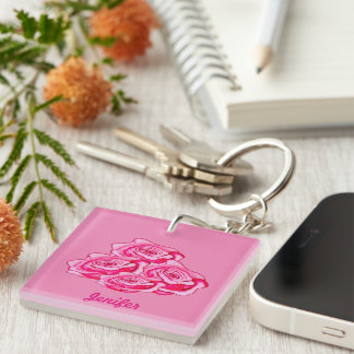 Mothers day bouquet of roses Double-Sided square acrylic keychain
