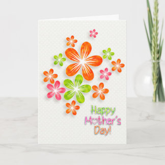Mother's Day - Bright Fun Flowers & Hearts Card
