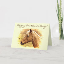 Mothers Day Brown Horse Animal Card