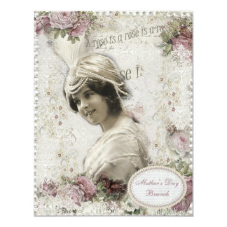 Mother's Day Brunch A Rose is a Rose Vintage Lady 4.25x5.5 Paper Invitation Card