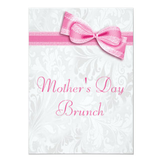 Mother's Day Brunch Damask and Pink Faux Bow 5x7 Paper Invitation Card