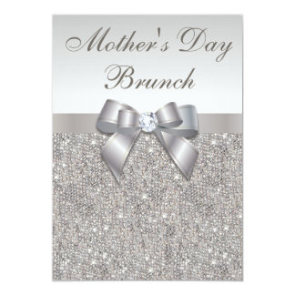 Mother's Day Brunch Faux Silver Jewels and Bow Card