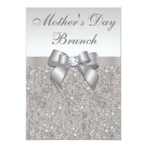 Mother's Day Brunch Faux Silver Jewels and Bow Invitation