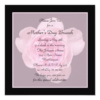 "Mother's Day Brunch Invitation -- Pink Rose 5.25"" Square Invitation Card"