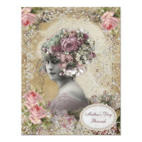 Mother's Day Brunch Lady with Jewels & Flowers Card