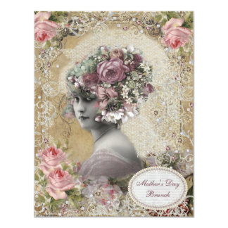 Mother's Day Brunch Lady with Jewels & Flowers 4.25x5.5 Paper Invitation Card