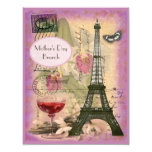 Mother's Day Brunch Paris Eiffel Tower & Red Wine 4.25x5.5 Paper Invitation Card