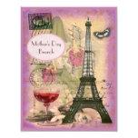 "Mother's Day Brunch Paris Eiffel Tower & Red Wine 4.25"" X 5.5"" Invitation Card"