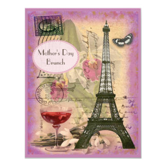Mother's Day Brunch Paris Eiffel Tower & Red Wine Personalized Invitations