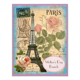 Mother's Day Brunch Paris Eiffel Tower & Roses 4.25x5.5 Paper Invitation Card