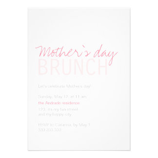Mothers Day Brunch Pink White Fully Customizable Announcements