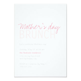 Mothers Day Brunch Pink White Fully Customizable 5x7 Paper Invitation Card