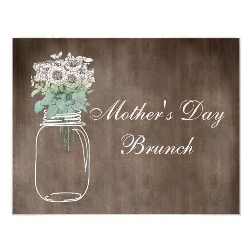 Mother's Day Brunch Rustic Mason Jar & Flowers 4.25x5.5 Paper Invitation Card