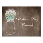 Mother's Day Brunch Rustic Mason Jar & Flowers Custom Announcements
